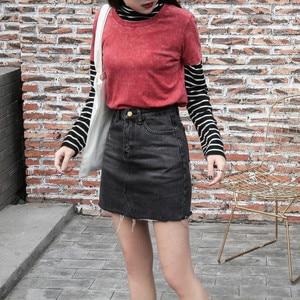 Image 5 - Hzirip jupes jean femme taille haute, jupes jean assorties, nouvelle mode 2020, avec poches, boutons, été Jeans décontractés