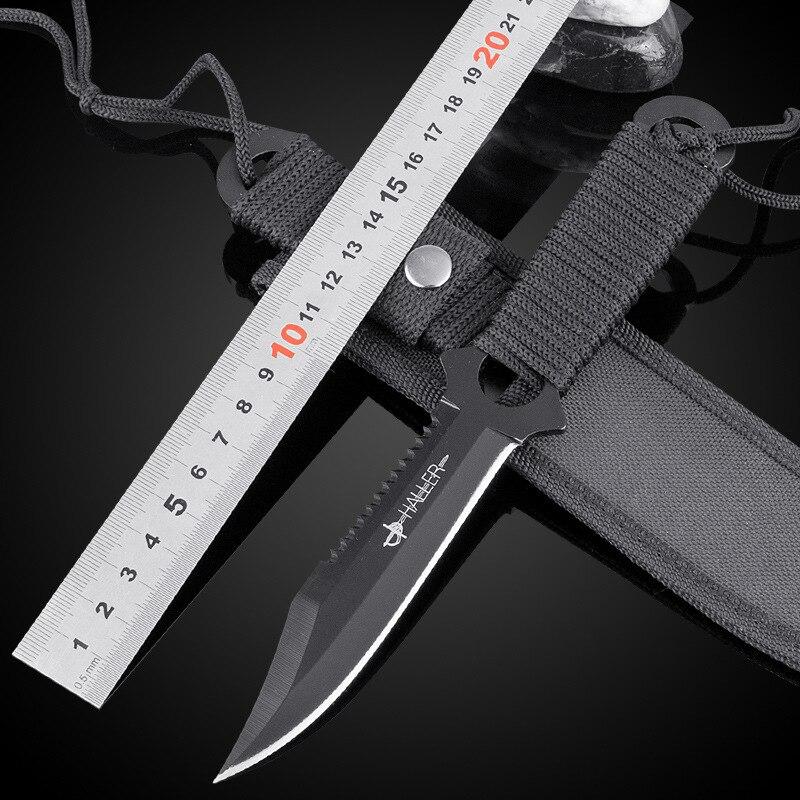 Haller Askeri Bıçak Paslanmaz Çelik Dalış Düz bıçak Açık Survival Kamp Cep Taktik Avcılık Bıçak Huntsman EDC