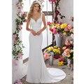 Vestidos De Novia Sexy V-neckilne Backless Vestidos de Casamento com Trem Da Varredura Apliques de Renda Romântico Vestidos de Noiva 2017 Plus Size tamanho