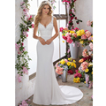 Vestidos De Novia Sexy V-neckilne Backless Wedding Dresses with Sweep Train Romantic Lace Appliques Bride Dresses 2017 Plus Size