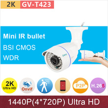 h.265 4mp(5mp) Ultra HD 2K IP camera outdoor waterproof bullet cctv surveillance camera 1440P/3mp/1080P ONVIF WDR GANVIS GV-T423