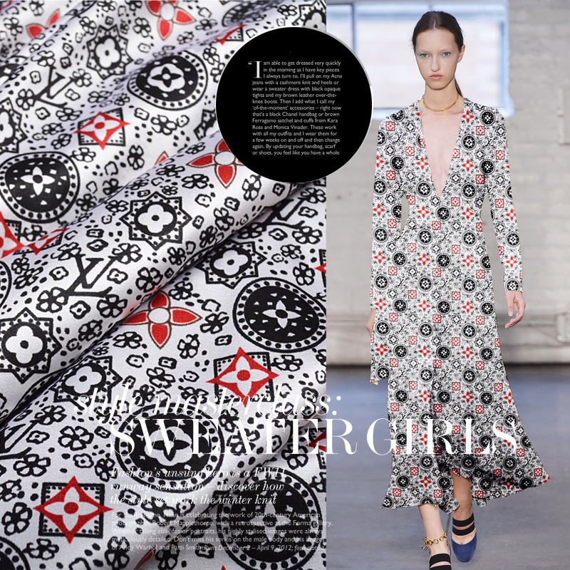 Free shipping Jiangnan impression summer blockbuster silk cloth stretch satin dress qipao dress mulberry silk printing fabrics