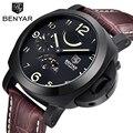 Nuevo 2016 Auto-Viento Automático Calendario Perpetuo Reloj Para Hombre Marca Del Deporte Militar Reloj Relogio masculino Reloj Mecánico de Cuero