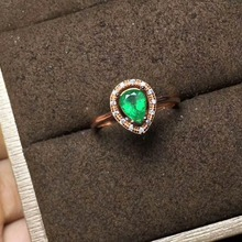 2017 new design silver emerald ring 5*7mm round brilliant cut natural emerald solid 925 silver emerald ring chic rhinestone faux emerald round ring for women