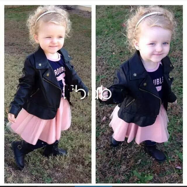 EMS DHL Free Shipping Kids Toddlers Girls Children s Long Sleeve Black Faux Leather Jaclets Zip