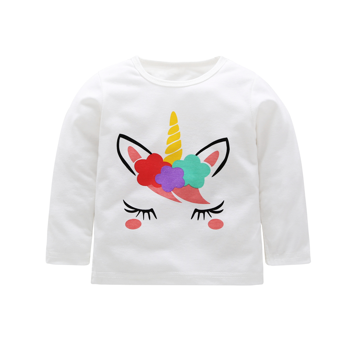 0-5Y Kid Girl Top Baby T-shirt Autumn Kids Spring Clothes Cotton Clothing Children T Shirts Cartoon Unicorn Toddler Tops White girls hello kitty happy birthday t shirts 2017 brand cartoon toddler girl dresses spring autumn girl dress