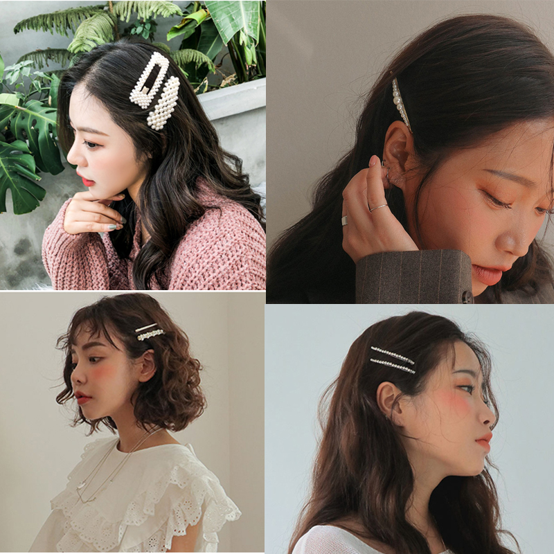 Woman Elegant Geometric Pearl Hairpins Korean Style Hair Clips Alloy Barrettes Girls Hair Accessories Hair Grips Headwear 5