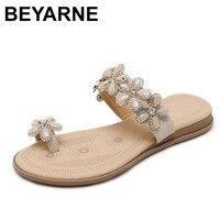 BEYARNE Women Flip Flop 2018 New Roman Style Woman Sandals Comfortable Bohemian Diamond Inlaid Flowers Clip