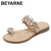 BEYARNE Women Flip Flop 2018 New Roman Style Woman Sandals Comfortable Bohemian Diamond Inlaid Flowers Clip