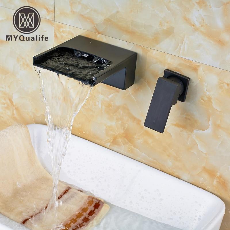 Здесь продается  Luxury Wall Mounted Brass Single Handle Bathroom Sink Faucet Double Hole Basin Faucet Taps Waterfall Spout  Строительство и Недвижимость