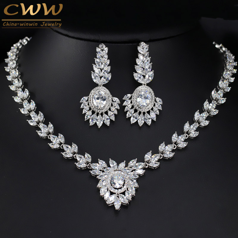 CWWZircons Flower Drop Big CZ Jewelry Set High Quality Zirconia Stone Paved Wedding Earring And Necklace For Brides T263 cwwzircons long water drop cubic zirconia stone big vintage royal wedding necklace and earring jewelry set for brides t205