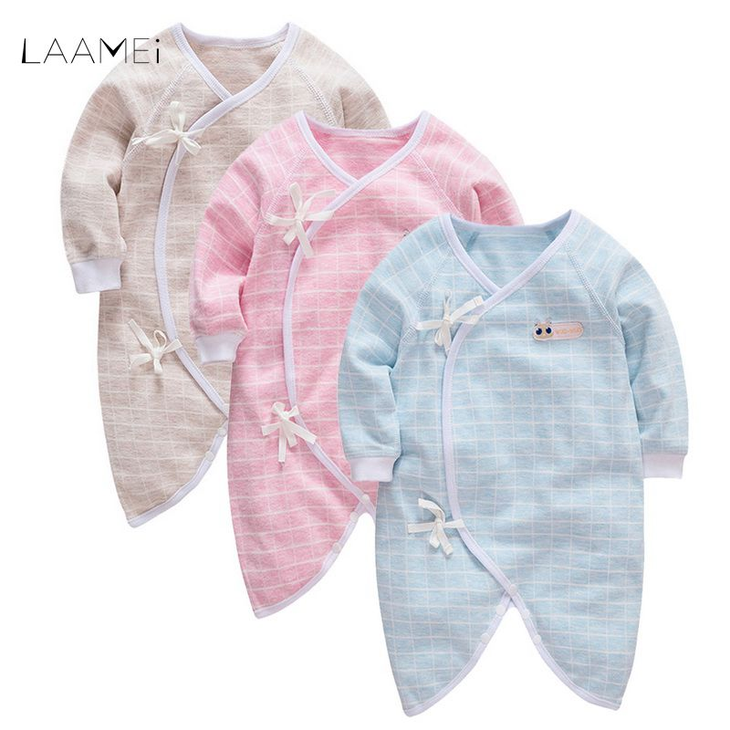 LAAMEI Brand Autumn Winter Home Sleepwear Trousers Newborn Siamese Robes Infant Long Sleeve Cotton Climbing 0-18 Months Baby