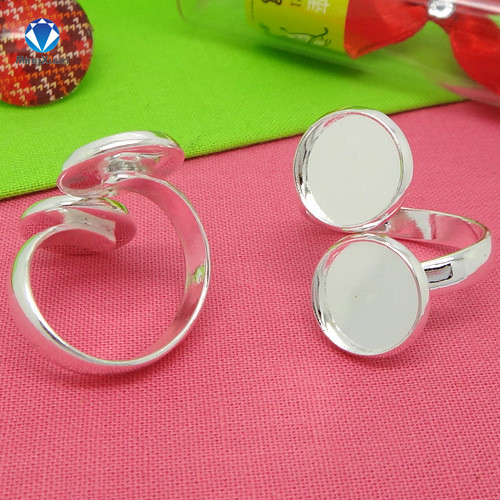 MINGXUAN 5pcs/lot Silver Not-Easy-Fading Ring Blank Base Bezel w/ Inner 10/12mm Double Settting Tray for Glass Cabochons
