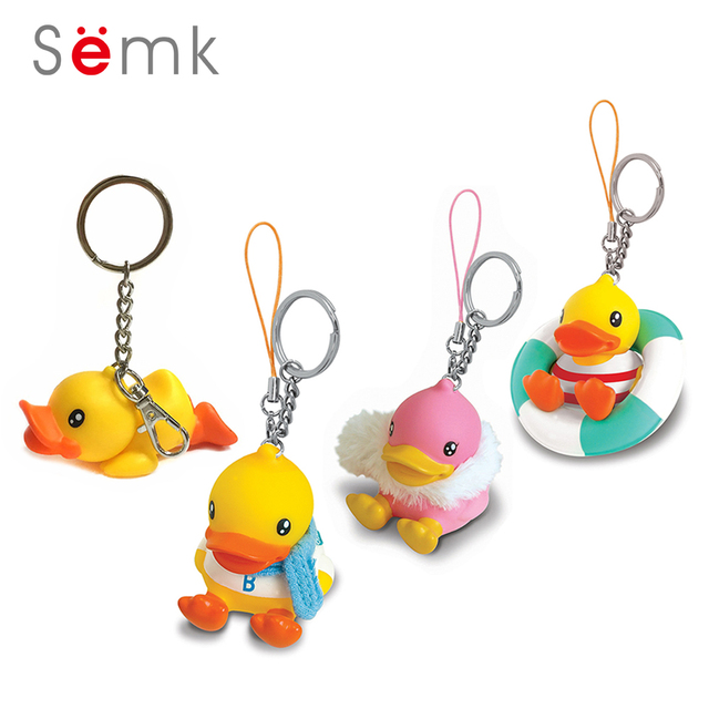 Semk Anime Figure Duck Keychain PVC Action Figure Mini Dolls Swimming Suit  Car Key Chain Bag 72c219327fba