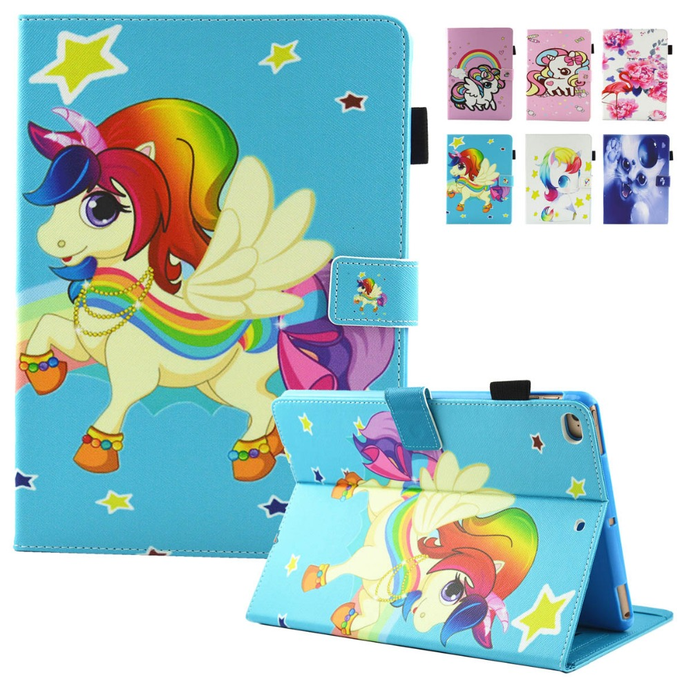 For iPad Mini 4 Case Cute Unicorn Flip PU Leather Magnetic Closure Stand Cases Cover for Apple iPadMini 4 3 2 1 Free Stylus Pen cartoon painted flower owl for kindle paperwhite 1 2 3 case flip bracket stand pu cover for amazon kindle paperwhite 1 2 3 case