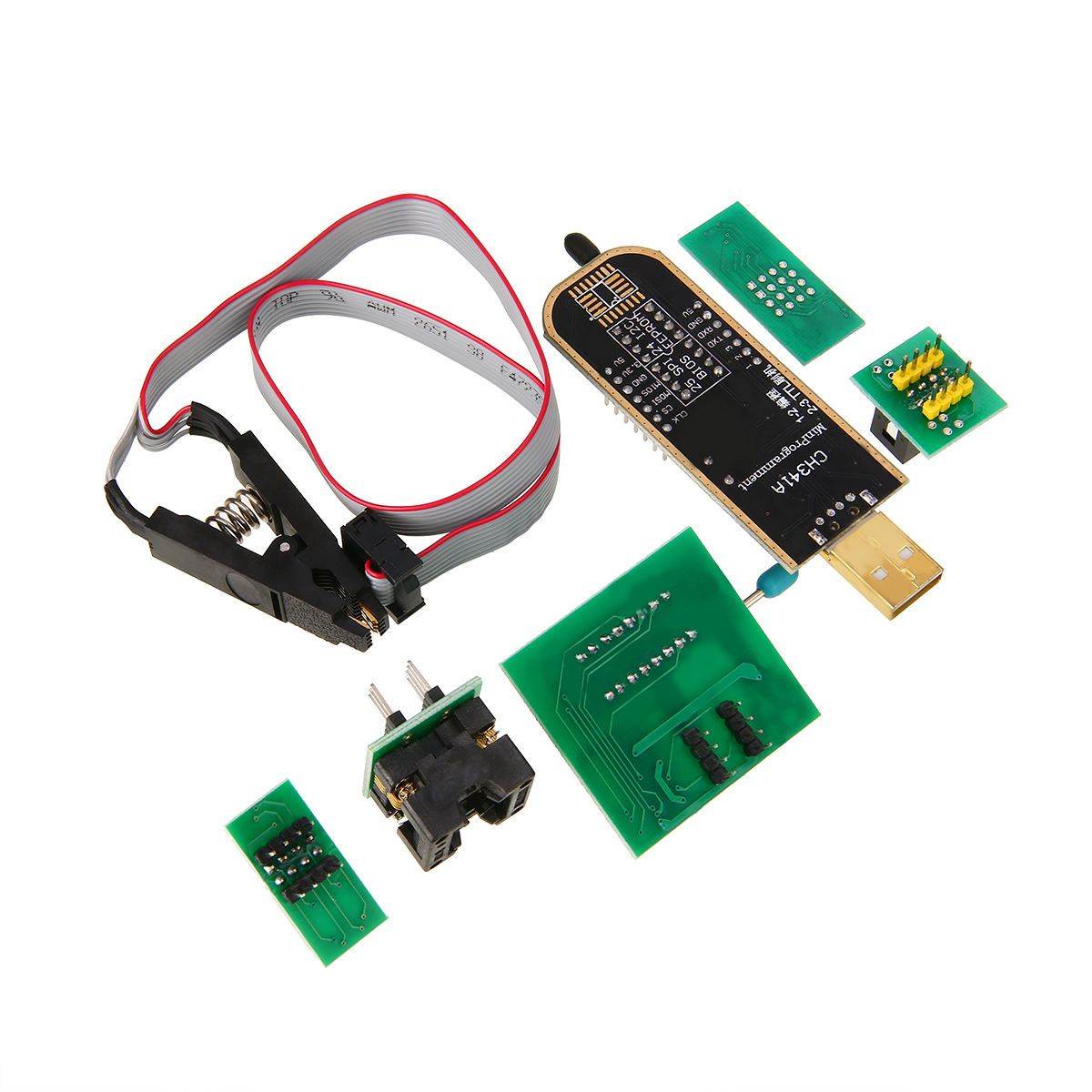 1 Set New For EEPROM Flash BIOS USB Programmer CH341A + SOIC8 Clip + 1.8V & SOIC8 Adapter Socket Converter Module universal dash programmer testing eeprom ic clamp soic8 soic 8 sop8 sop clip cable cord adapter for 24 93 25 26 series chip