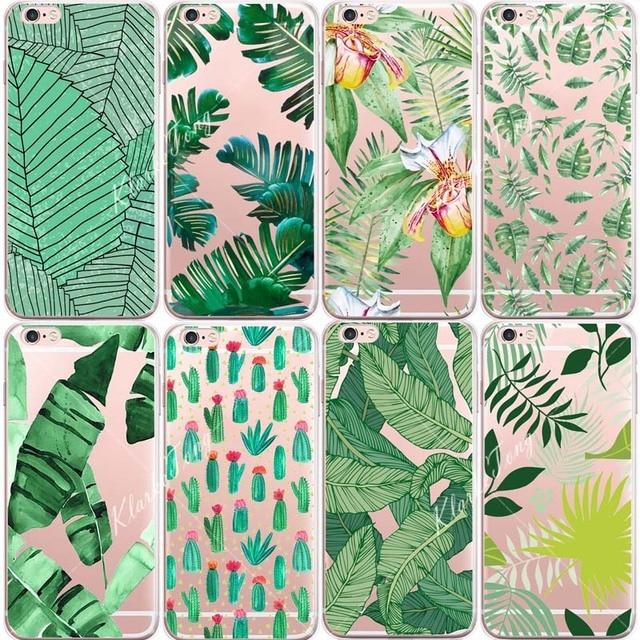 Plantas Cactus Folhas de Bananeira Silicone macio Caso Para iphone X 6 6 S 5 5S SE 7 8 Mais Transparente limpar TPU Tampa Do Telefone de Volta