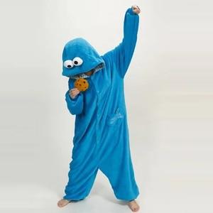 Image 3 - Azul conjuntos de pijamas de franela Animal pijama kugurumi de invierno de punto ropa de dormir de las mujeres de los hombres adultos camisón de dibujos animados de sésamo calle pijama