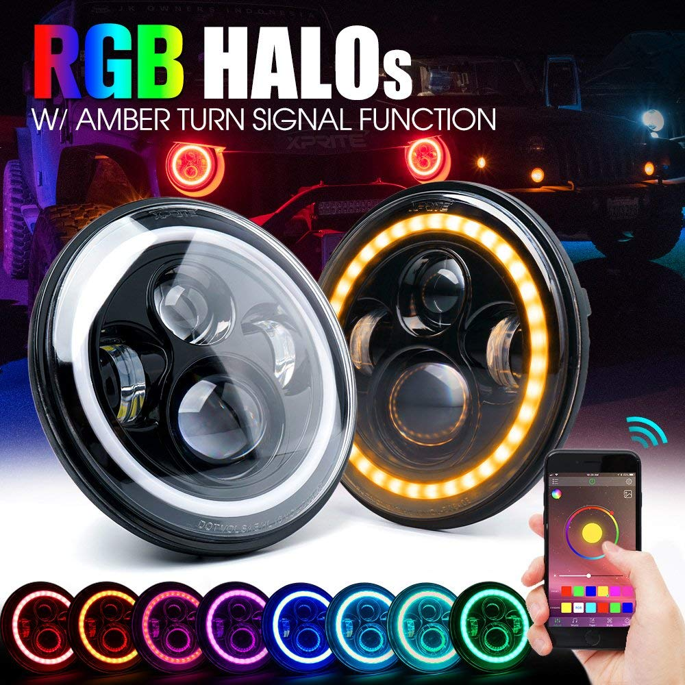 лучшая цена 7 inch LED RGB Headlight Round DRL Headlamp Flashing RGB Angel Eye Halo Ring Bluetooth Controlled for Jeep Wrangler JK LJ CJ