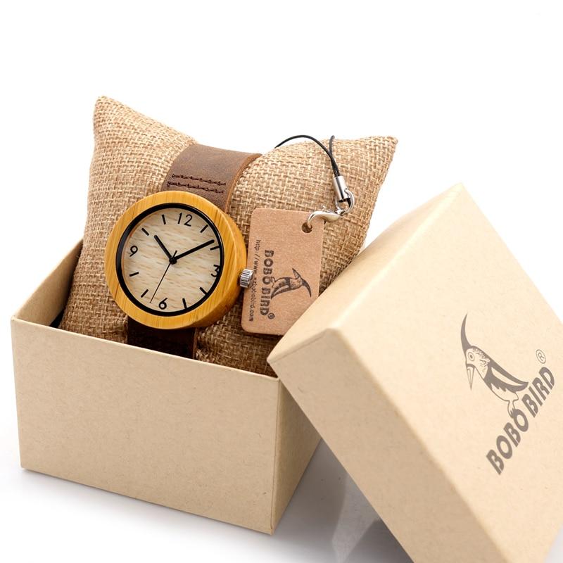 2017 BOBO BIRD Women's Wood Watch Bamboo Wood Wristwatches Female Clock Lady Leather Band Quartz Watch as Gifts for Women D18-2