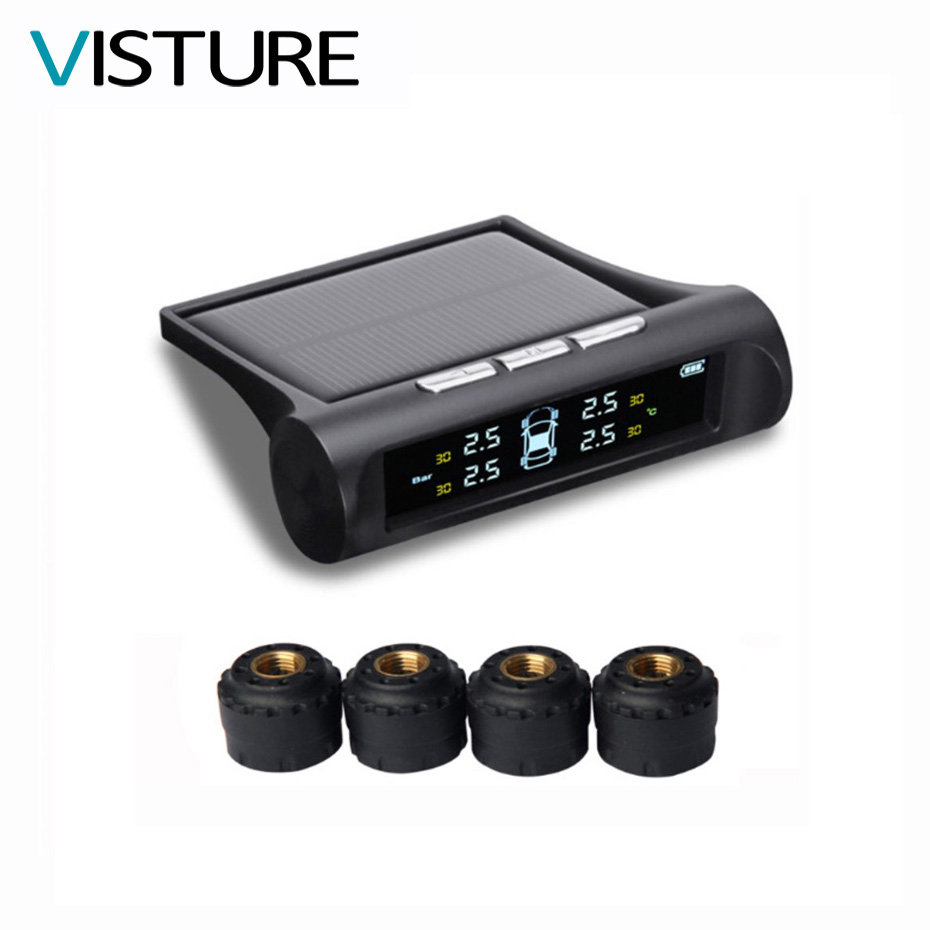 Visture Solar Power TPMS Car Tire Pressure Alarm Monitor System LCD Display 4 External Sensor Temperature Sensor T01C 2018 newest solar tpms newest technology car tire diagnostic tool with mini external sensor superior quality wireless tpms