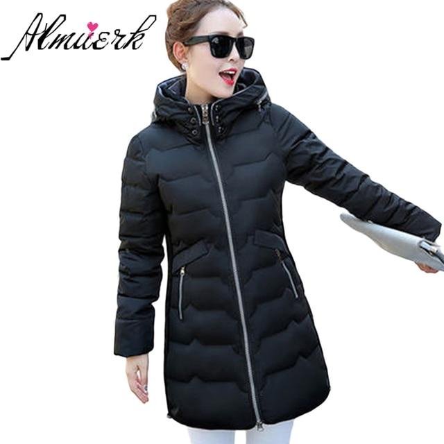 Último invierno Chaqueta de algodón mujeres moda con capucha parkas mujer  medio largo espesa wadded abrigo 8b588a52bf49