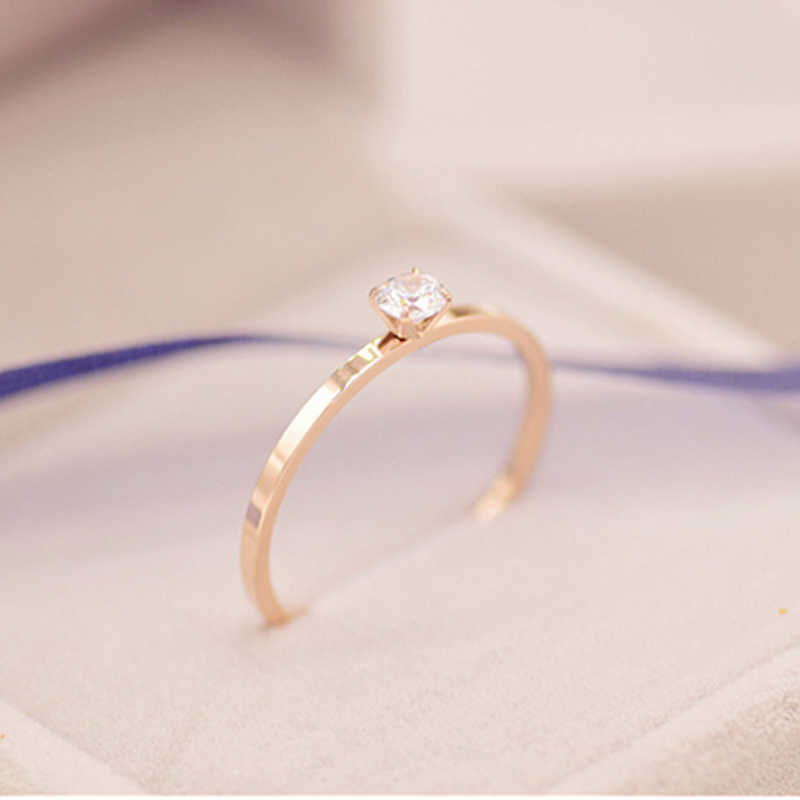Tyme 2019 Simple Beautiful Slim Stainless Steel Crystal Ring For