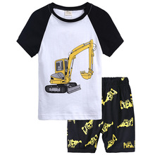 Kids Short-sleeved Pajamas Boy Round Neck Print Casual Suit Cotton Cartoon Digger Pattern Clothes