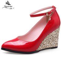 Sgesvier丸いつま先ウェッジハイヒールの女性パンプスアンクルストラップ尖ったつま先ホワイトデート女性プラットフォームヒール赤い結婚式の靴OX223