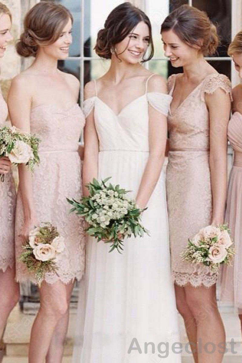 Different designs lace bridesmaid dresses 2016 a line v neck mini different designs lace bridesmaid dresses 2016 a line v neck mini wedding guest dresses party gowns cheap wholesale prom dress in bridesmaid dresses from ombrellifo Images