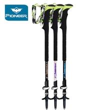Pioneer Lightweight Anti Shock Trekking Poles Carbon Fiber Telescopic Stick Walking Cane Hiking Accessories Sticks