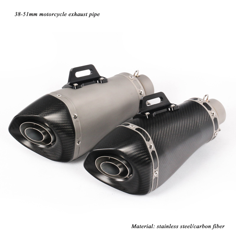 Modified Motorcycle Exhaust Muffler Tip Pipe With Removable DB Killer For 38 51mm Real Carbon Fiber