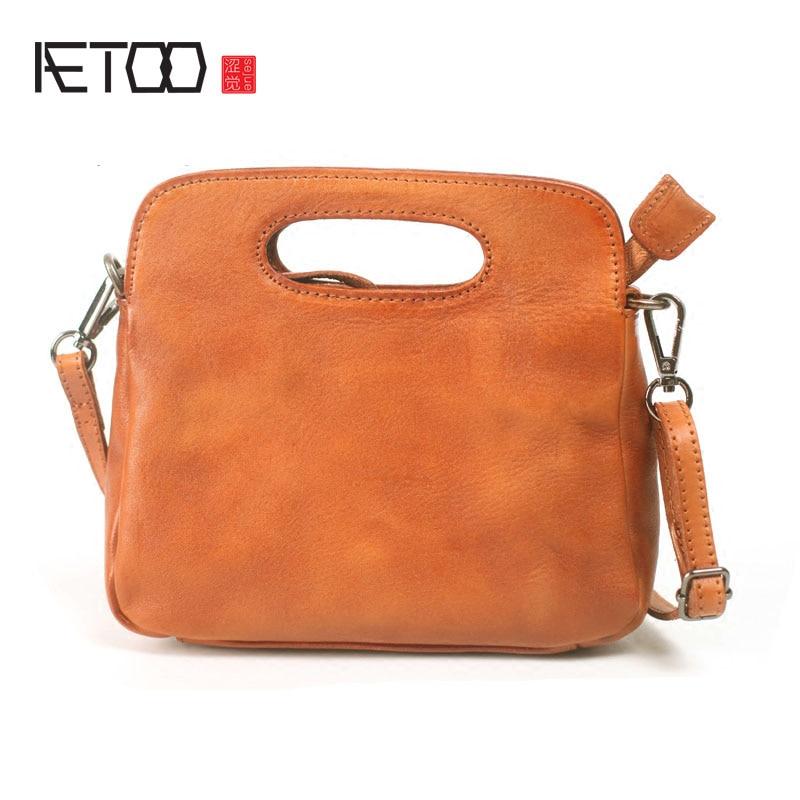 AETOO Handmade cowhide art retro retro bag 2017 early autumn new leather handbag shell shoulder diagonal package