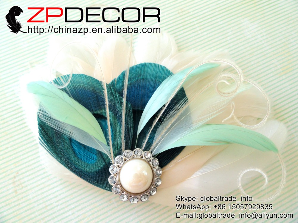 BREE Turquoise, Mint Green, and Ivory Feather Fascinator with Crystal and Pearl, Feather Hair Clip, Bridal Hair Piece1