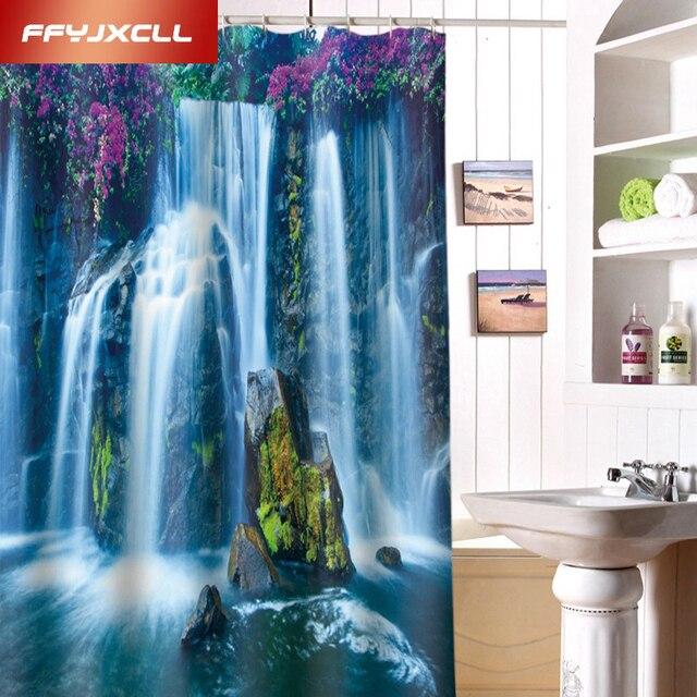 Charming 3D Scenic Waterfall Print Fabric Modern Shower Curtain Eco ...