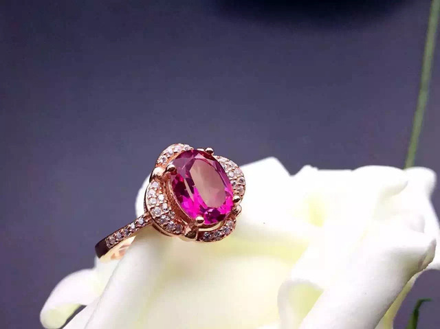 Natural pink topaz gem Ring Natural gemstone ring 925 sterling silver trendy Elegant round Diana women girl party gift Jewelry