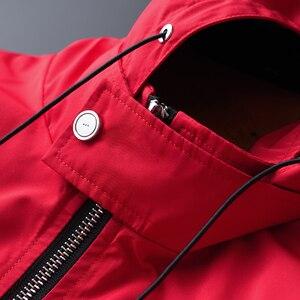 Image 4 - Minglu Primavera E in Autunno Nuova Giacca Con Cappuccio Rosso di Qualità di Hight Casual degli uomini di Moda Slim Fit Cappotto del Rivestimento Più Il Formato m 2XL 3XL 4XL