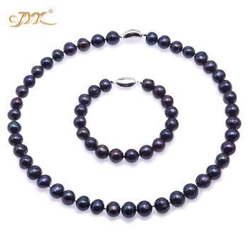 JYX 2018 schmuck perle Halskette Set 10-11mm Flache Runde Schwarz Süßwasser Zuchtperlen Halskette Armband Set Weihnachten jewlery
