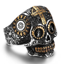 Vintage Cool Cross Skeleton Rings For Women Men Lovers Fashion Jewelry Handsome Biker Skull Ring Green Eye Death Gold Skull Ring(China)