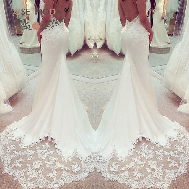 d3064febb6d2 Rose Moda Crystal Beaded Mermaid Wedding Dress 2019 Backless Bridal Dresses  with Lace Cut Out Train