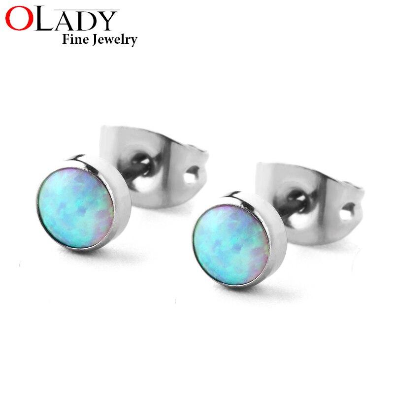 100% Titanium Stud Earring Minimalist 4MM 5 colors Round Opal 4MM/5MM sizes 99%Anti-allergic free shipping