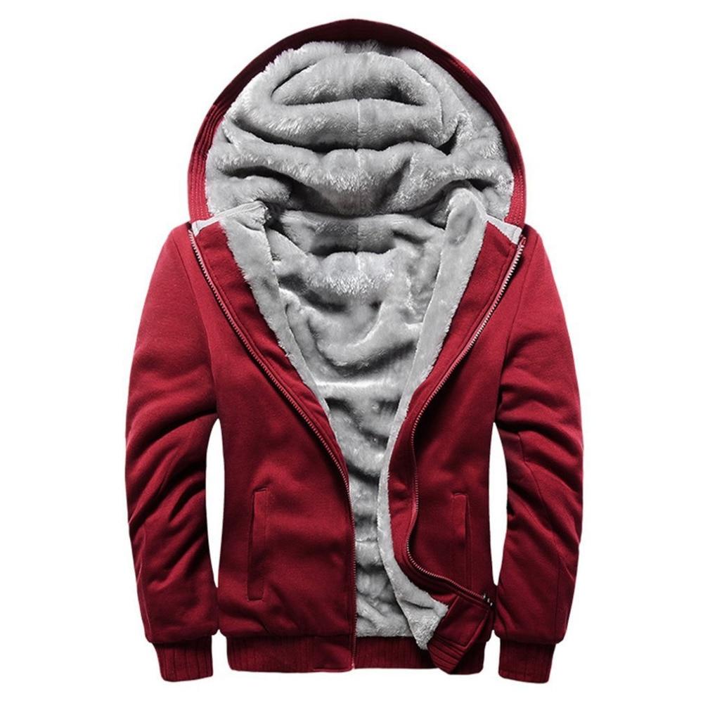 Men Thickening Velvet Hooded Coat Winter Sweatshirt Men Hoodie Male Jacket 2018 Brand Casual Zipper Hoody Polyester Tracksuit