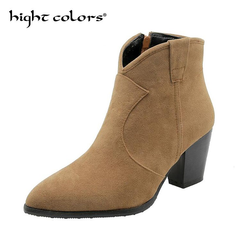 2020 Fashion Pointed Thick Heel Women Boots Flock Ankle Boots Spring Autumn Ladies Western Boots Plus Size 34-46 Bota Feminina