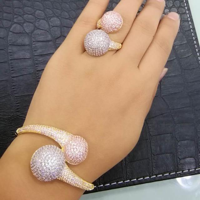 GODKI Conjunto de anillo de brazalete africano para mujer, Bola de discoteca de lujo, juegos de joyas para mujer, brincos de compromiso de boda para as mulheres 2018