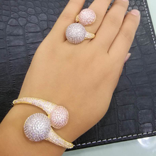 GODKI יוקרה דיסקו כדור אפריקאי צמיד טבעת סט תכשיטים נשים חתונה אירוסין Brincos para כמו mulheres 2018