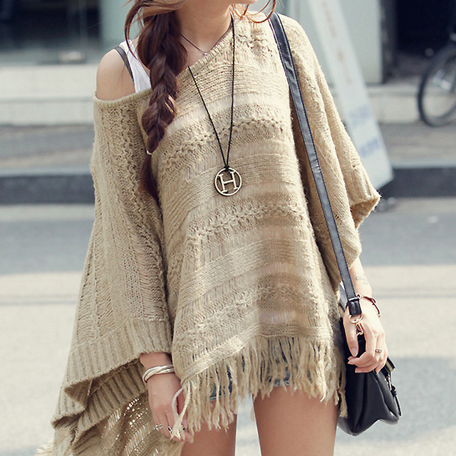 WOOL COTTON TASSEL PONCHO CAPE JACKET BLANKET JUMPER SHAWL BOHO ...