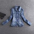 Новый 2017 Мода Весна Осень Короткие Куртки Женщины С Длинным Рукавом Тонкий Джинсовый Жакет Дамы Девушка Отпечатано Повседневная Джинсовая Куртка AE473