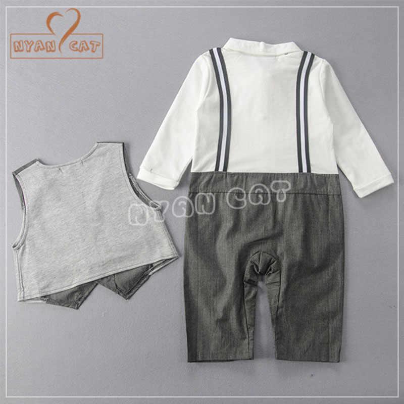 202a04d09 ... NYAN CAT Baby wedding tuxedo toddler boy suit bow tie romper+Vest black  gray long ...