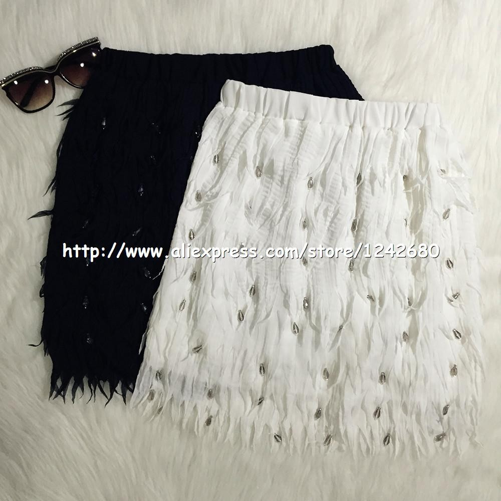 feather chiffon diamonds skirt