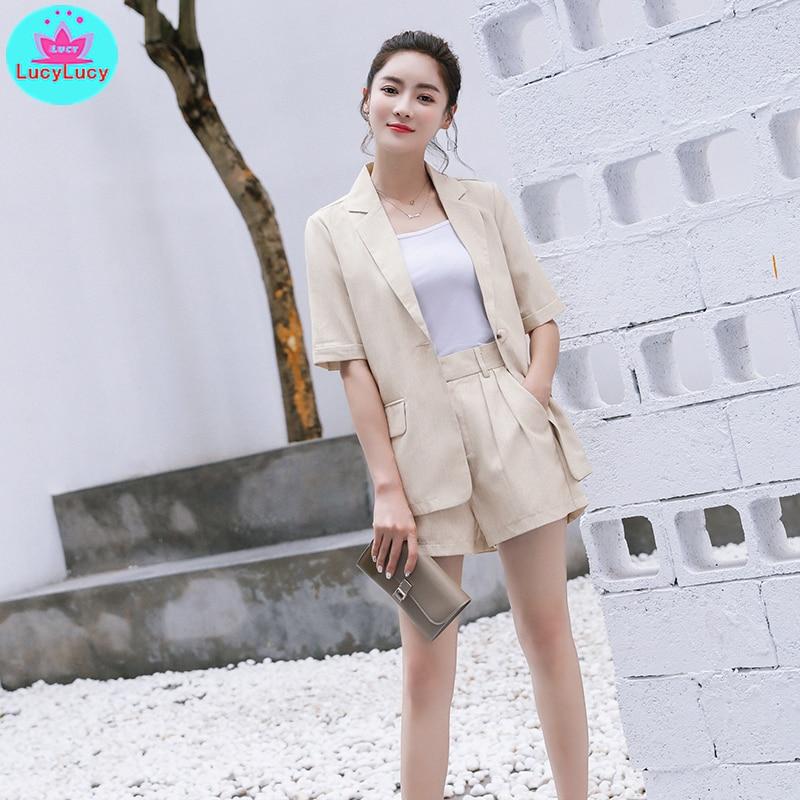 2109 Summer Korean Women's Wear 2 Piece Set Playful Small Suit Shorts Set Notched  Single Breasted  Zipper Fly  Short
